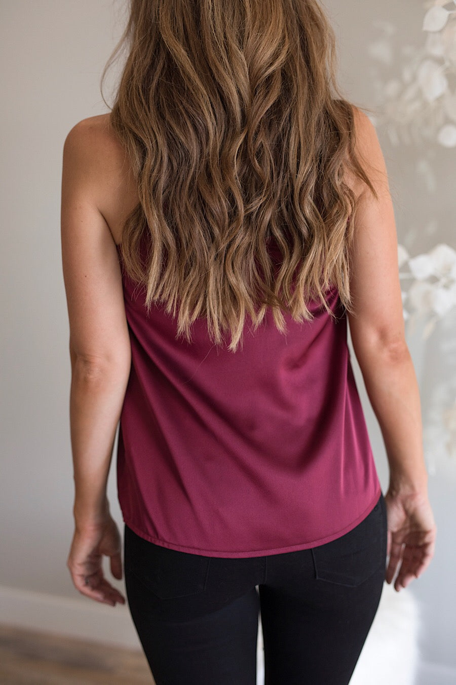 Satin Cami Top in Wine