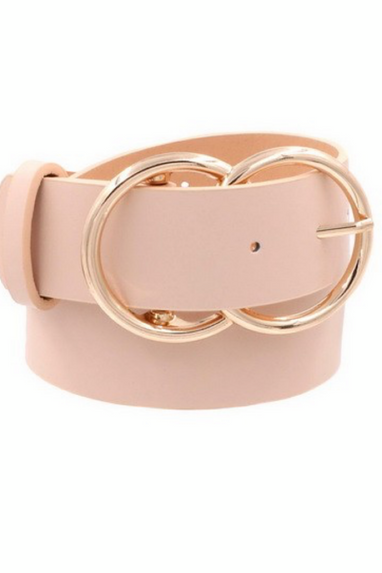 Vegan Leather Double Ring Belt in Blush Pink