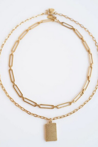 Dbl Layered Chain Link Necklace w/Pendant