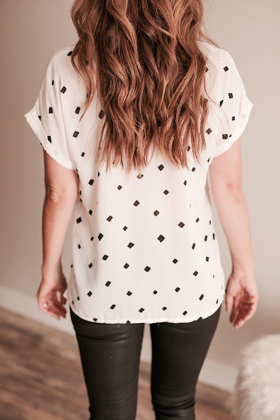 Black and White Buttoned Collar Blouse