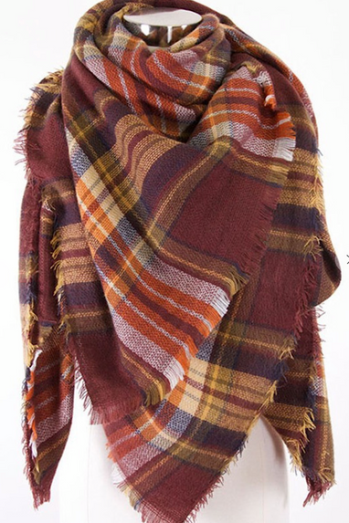 Oversized Plaid Scarf in Coffee