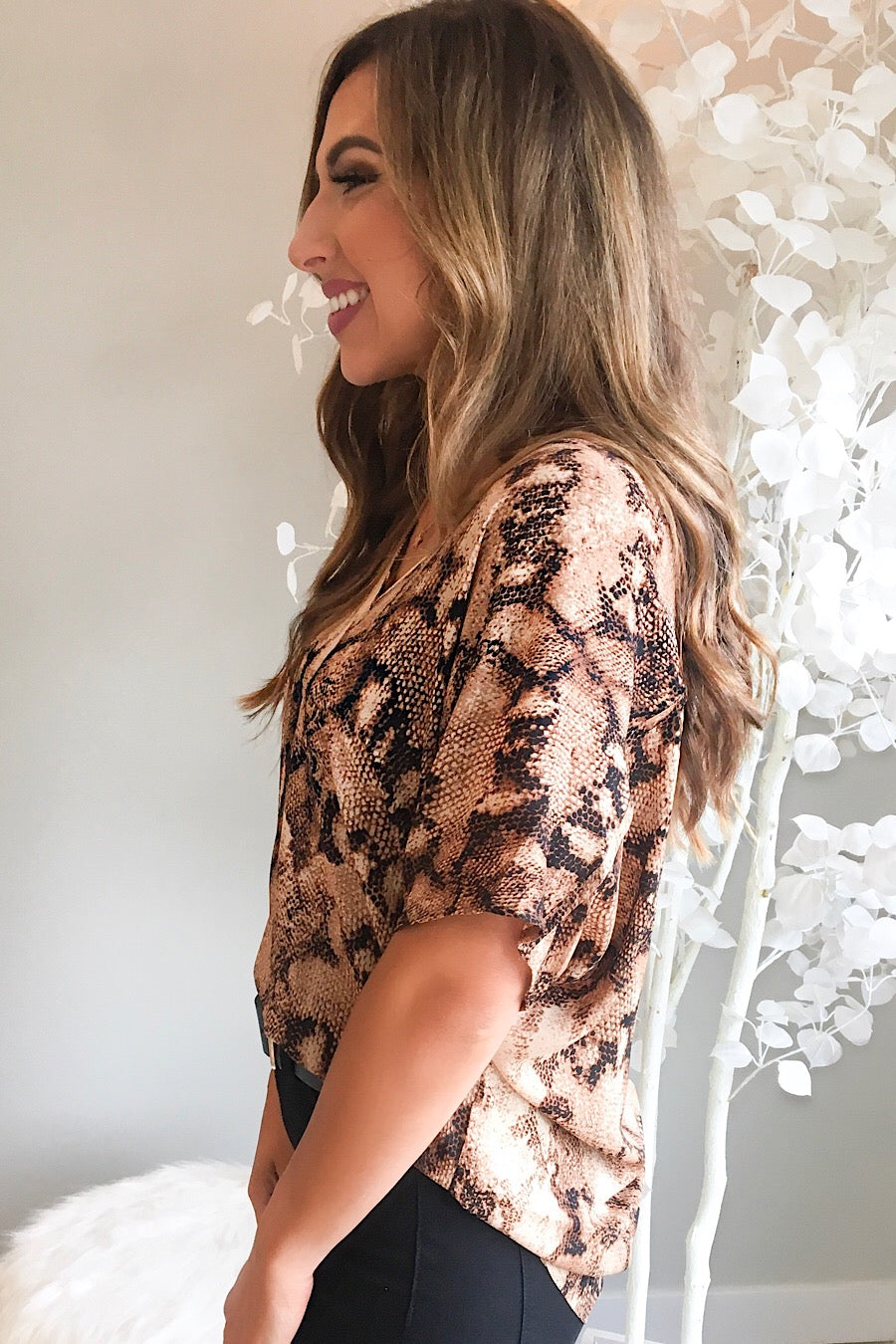 Printed V-Neck Blouse in Taupe