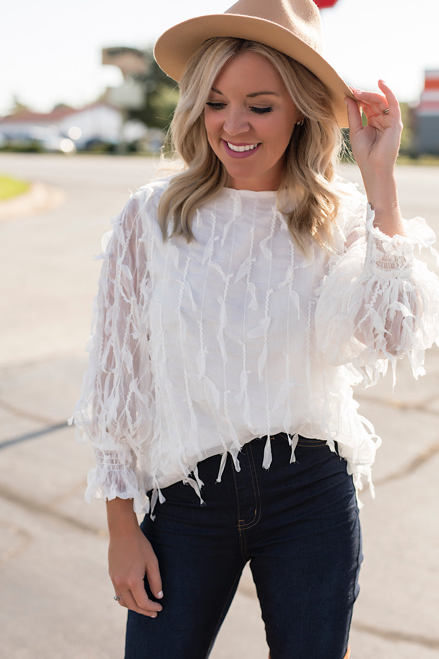 In Fine Feather Top in White
