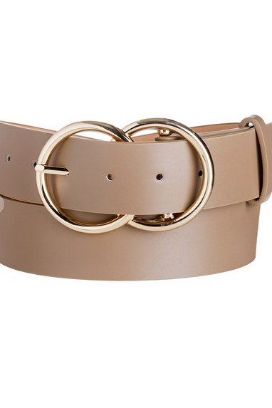 Vegan Leather Double Ring Belt in Taupe