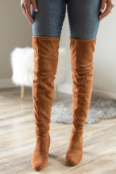 Weismann Heel Over the Knee Boots in Tan