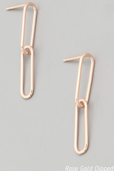 Oval Chain Link Earrings in Rose Gold