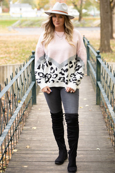 Colorblock Leopard Sweater in Pink