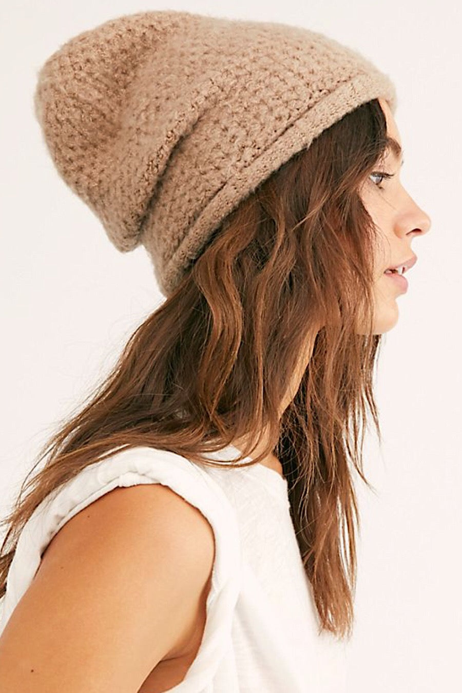 Free People Dreamland Knit Beanie in Taupe