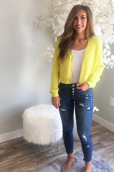 Lime Buttoned Cardigan
