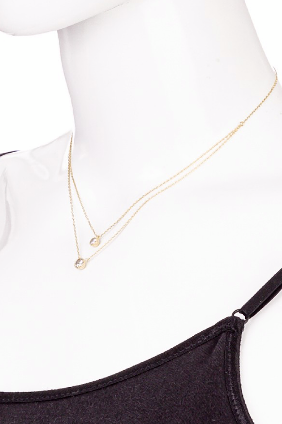 Dainty Stud Layered Necklace in Gold or Silver