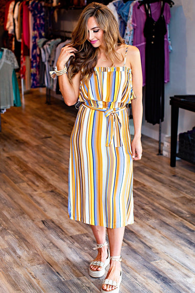 Belted Stripe Midi-Dress