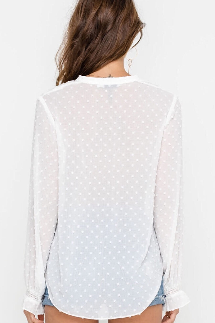 Dotted Lace Blouse in Creme