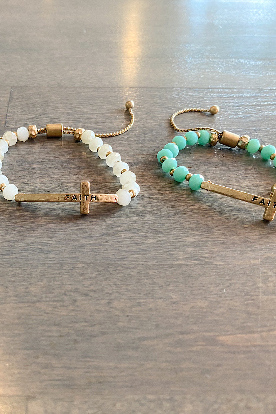 Beaded Cross Bracelets in Turq, Tan, Ivory