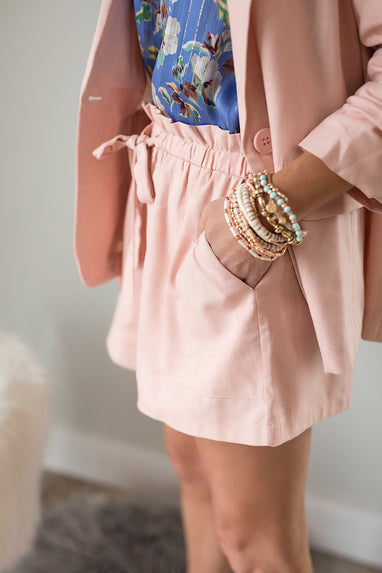 Linen Paperbag Shorts in Blush