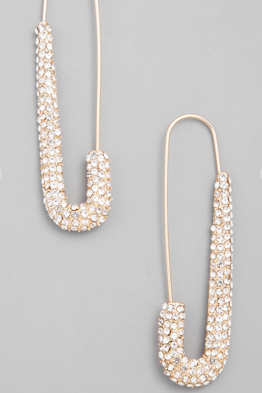 Safety Pin Crystal Earrings in Gold or Silver