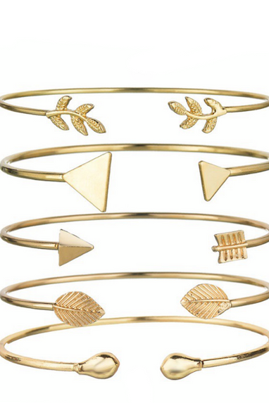 Bohemian Triangle & Arrow Cuff Bracelet Set