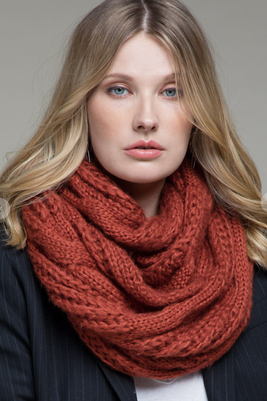 Cable Knit Infinity Scarf in Rust