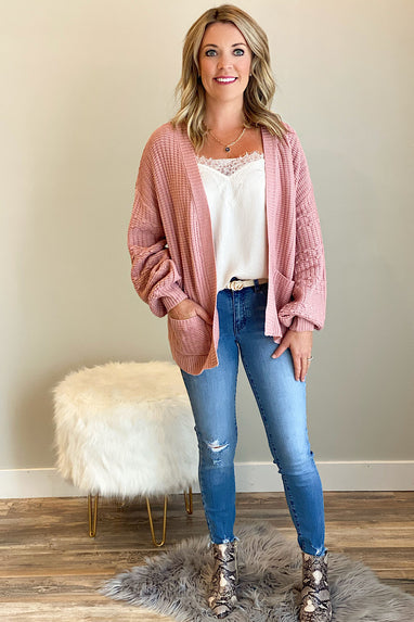 Come Over Balloon Sleeve Cardigan Blush
