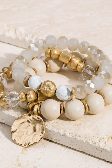 Set of 3 Beaded Bracelets in Ivory, Nude or Grey