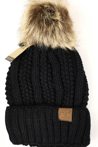 CC Fuzzy Lined Pom Pom Beanie in Black, Grey, Beige or Camel