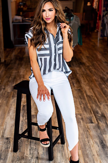 Linen Striped Wanna B Top