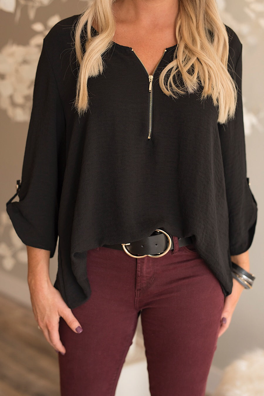 Zipper Front Blouse