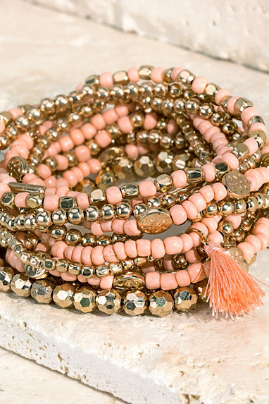 Mixed Beaded Bracelet Set in White, Peach or Black
