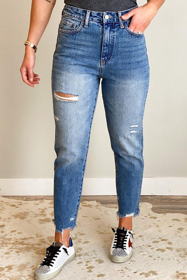 Rendition Distressed Mom Jeans