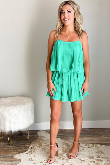 Jade Pleated Romper
