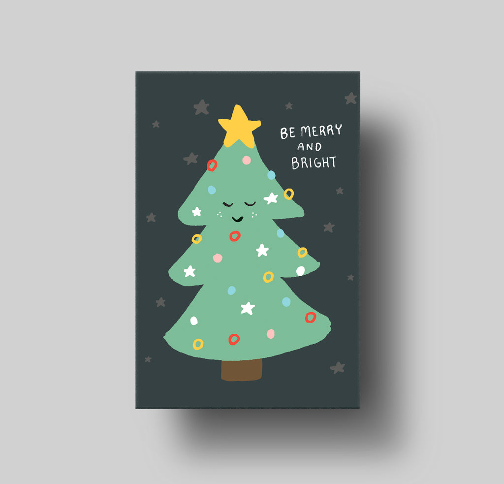Xmas Tree Merry and Bright Greeting Card