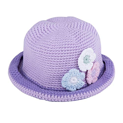 Three Flower Hand Crochet Cotton Bucket Hat-Girls Spring Hats-Pengoodles-Lavender-Child M-Pengoodles