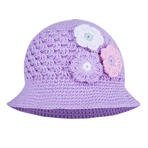 Three Flower Hand Knitted Cotton Crochet Floppy Hat-Girls Spring Hats-Pengoodles-Lavender-Child M-Pengoodles