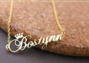 Crown Name Necklace Personalized