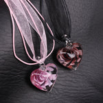 Flower in the Heart Ribbon Necklace
