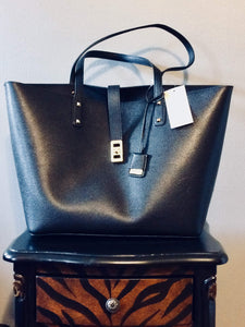 34b9c95fe16b MICHAEL Michael Kors Karson Large Black Pebbled Leather Carryall Tote NS