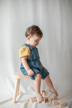 kinder capsule overalls convert to shorts - clothes that grow with your child