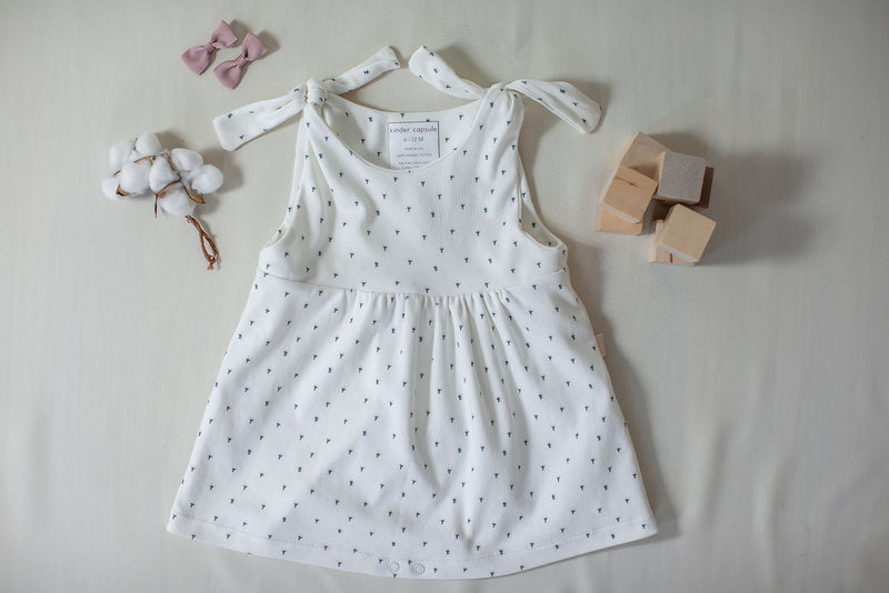 kinder capsule cotton puff flower romper dress - clothes that grow with your child