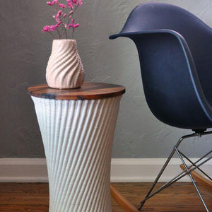 Ribbed End Table