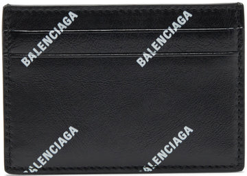 Balenciaga Card Case All Over Logo Black White