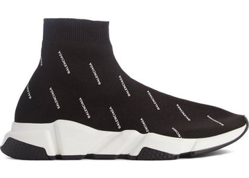 Authentic Balenciaga Speed Trainer Logo Print Black White