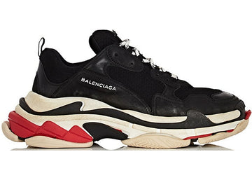 Authentic Balenciaga Triple S Black White Red (W) (2018 Reissue)