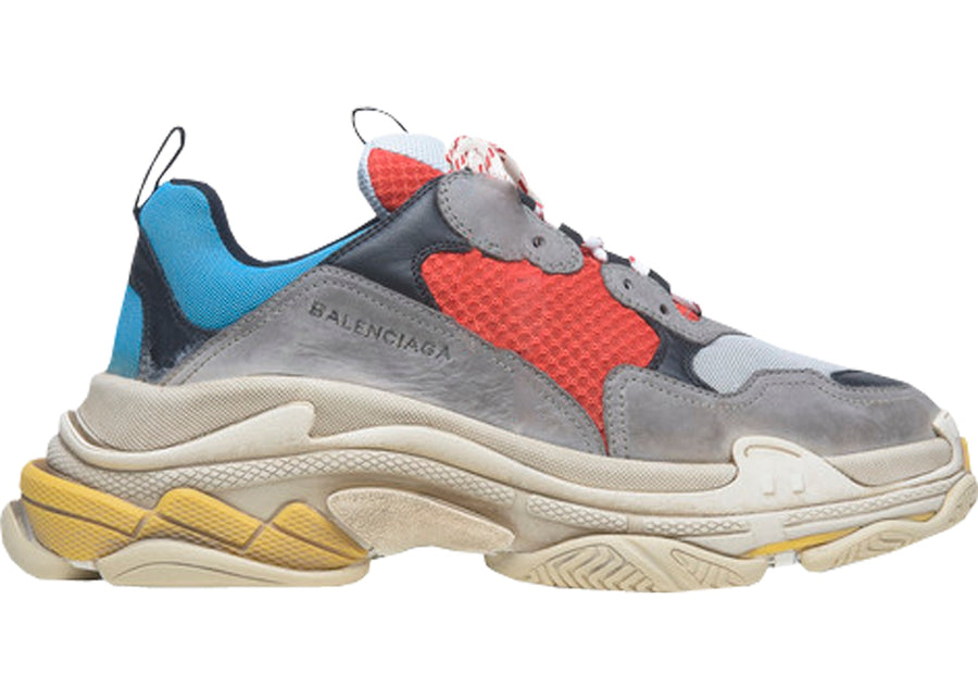 Authentic Balenciaga Triple S Grey Red Blue