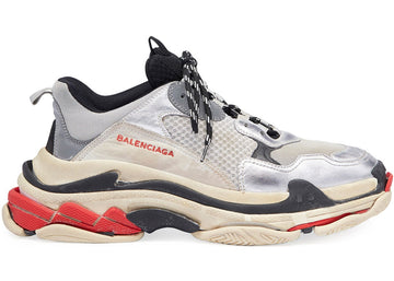 Authentic Balenciaga Triple S Silver Red (2018)
