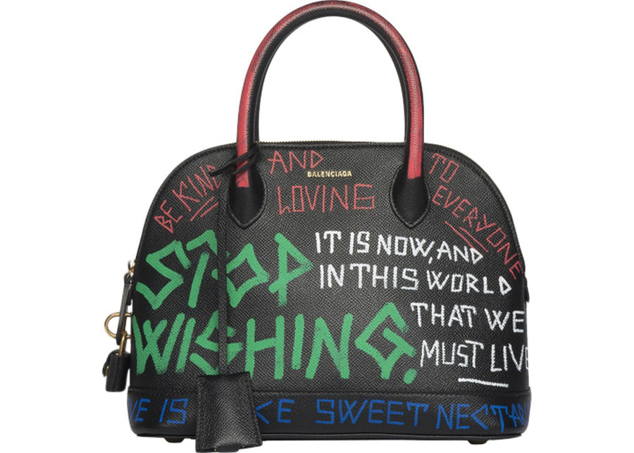 Balenciaga Ville Top Handle Graffiti S Black Multicolor