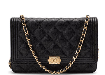 Chanel Boy Wallet On Chain Quilted Black/Army Green