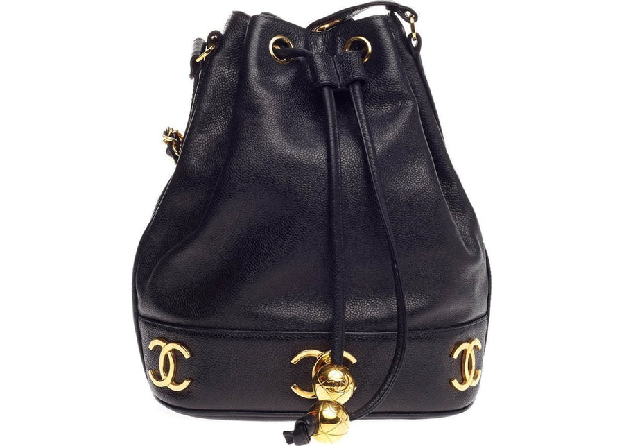 Chanel CC Vintage Drawstring Bucket Medium Black