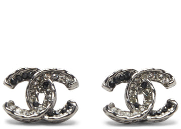 Chanel Classic CC Turnlock Crystal Earrings Grey/Black