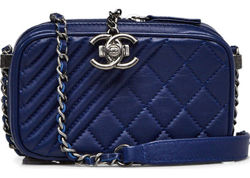 Chanel Coco Boy Camera Bag Quilted Chevron Small Blue