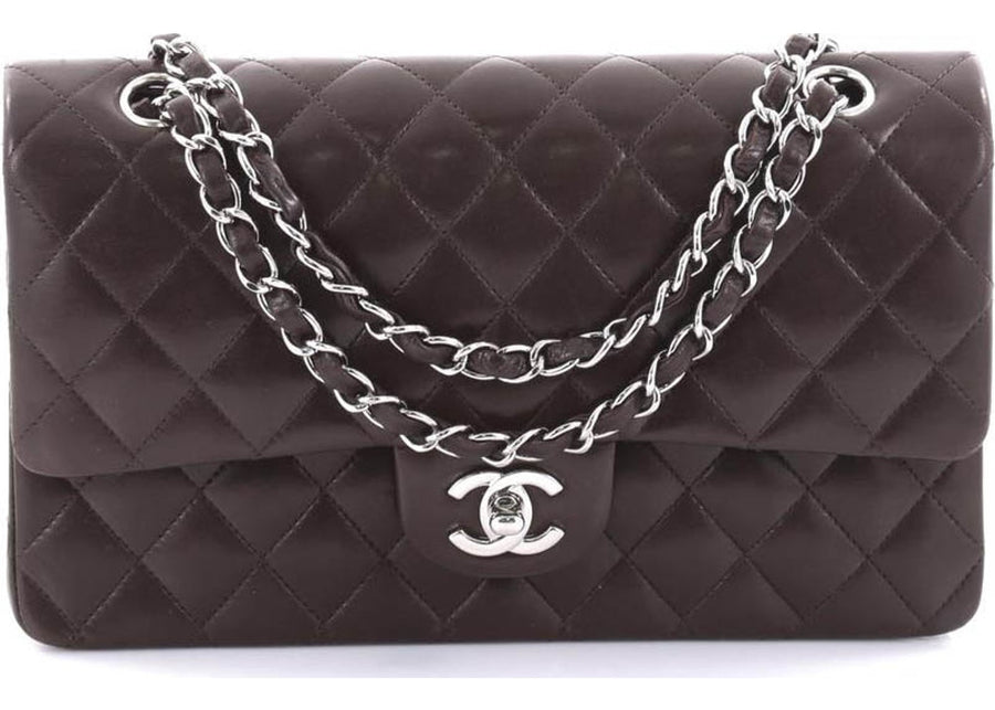 Chanel Double Flap Diamond Quilted Medium Dark Brown