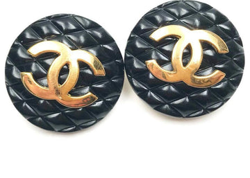 Chanel Quilted CC Clip On Earrings Black/Gold